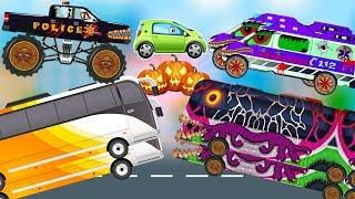 Good Vs Evil School Bus | Scary Monster Truck Street Vehicles for Kids | The Police Car Cartoon