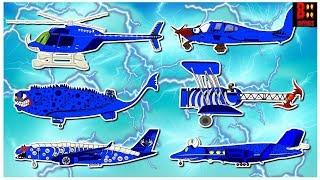 Learn Scary Air Vehicles Name And Colors - BLUE - Jet Airliner, Biplane, Aircraft, Plane