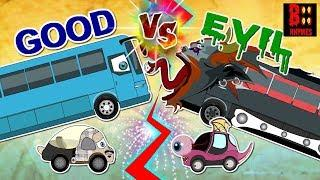 Good Vs Evil Luxury Bus - Scary Street Vehicles - Dump Truck, Monster Car, Cement Mixer, Crane