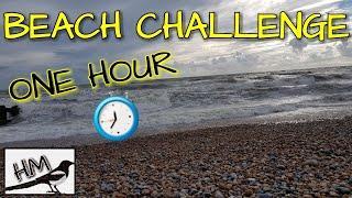 1 HOUR BEACH METAL DETECTING CHALLENGE . BEACH DETECTING UK 2018