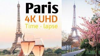 Paris City from heavens 4K UHD Time - lapse