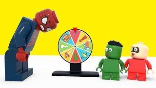 Superhero Babies Playing With A Magic Wheel of Fortune ❤ Lego Superhero Movies For Kids