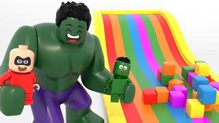 Superhero Babies Playing With Gaint Slide & Colorful Boxes ❤ Lego Superhero Movies For Kids
