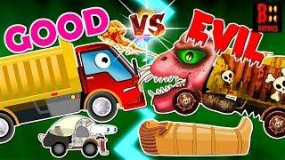 Good Vs Evil Dump Truck - Scary Street Vehicles Names - Cement Mixer, Police Car, Ice Cream Van