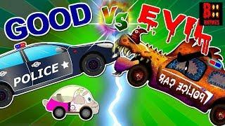 Good Vs Evil Police Car - Scary Street Vehicles For Kids - Tow Truck, Humvee, Dump Truck, SUV