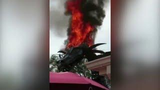 Flames destroy Maleficent dragon during Festival of Fantasy at Walt Disney