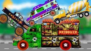 The Police Car Cartoon | Good VS Evil Ambulance War | Scary Street Vehicles Kids Video, Mixer Truck