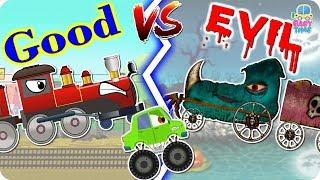 Good Vs Evil Toy Train - Scary Street Vehicles - Tow Truck, Mail Van, Monster Car, Police Car,Crane