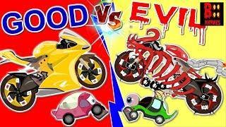 Good Vs Evil Sport Bike - Scary Street Vehicles -  Learning Video For Kids