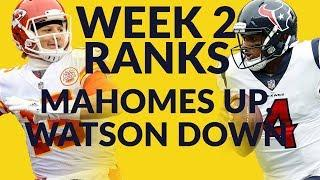 Week 2 Fantasy Football Ranks Are Live & Deshaun Watson's Stock Is Down, While Pat Mahomes Is Way Up