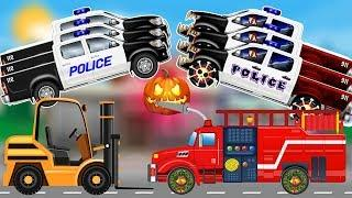 Good VS Evil Police Car | Scary Monster Truck | Learn Street Vehicles for Kids | Fire Truck Cartoon